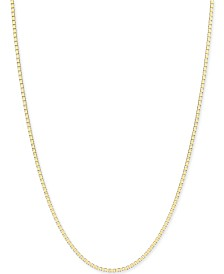 Box-Link Chain Necklace (3/4mm) in 14k Gold