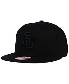 San Diego Padres Black on Black 9FIFTY Snapback Cap