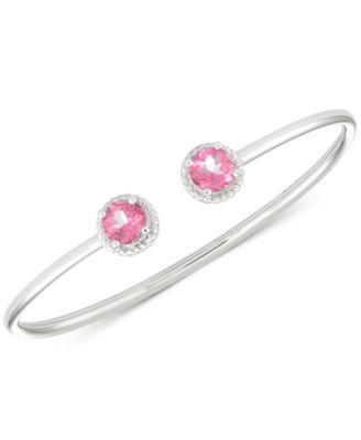 Pink Topaz Flexible Bangle Bracelet (3-1/5 ct. t.w.) in Sterling Silver