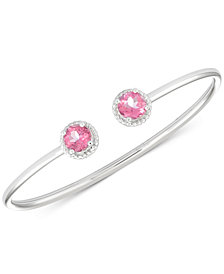 Pink Topaz Flexible Bangle Bracelet (3-1/5 ct. t.w.) in Sterling Silver