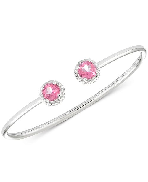 Macy's Pink Topaz Flexible Bangle Bracelet (3-1/5 ct. t.w.) in Sterling Silver