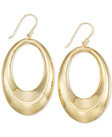 Polished Oval Drop Hoop Earrings in 14k Gold Vermeil