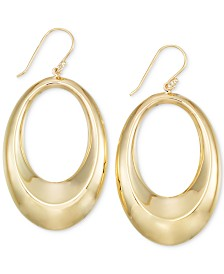 Polished Oval Drop Hoop Earrings in 14k Gold Vermeil