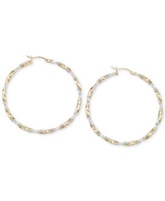 Image of Twisted Hoop Earrings in 14k Gold and White Vermeil