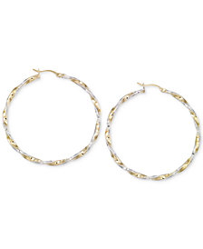 Twisted Hoop Earrings in 14k Gold and White Vermeil