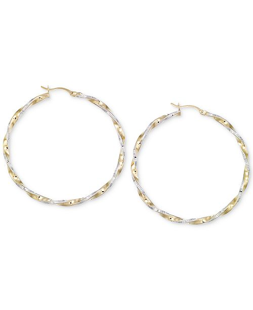 Macy's Twisted Hoop Earrings in 14k Gold and White Vermeil
