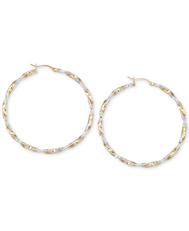 Macy's Twisted Hoop Earrings in 14k Gold and White Vermeil