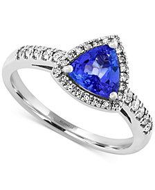 EFFY Tanzanite (3/4 ct. t.w.) and Diamond (1/5 ct. t.w.) Trillion Ring in 14k White Gold