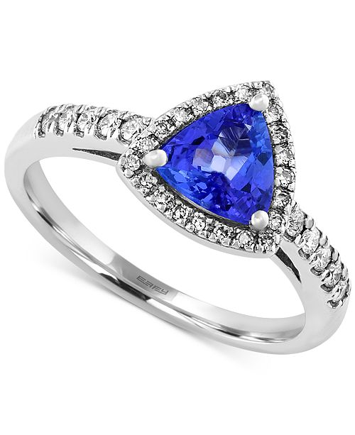EFFY Collection EFFY® Tanzanite (3/4 ct. t.w.) and Diamond (1/5 ct. t.w.) Trillion Ring in 14k White Gold