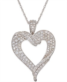 Diamond Heart Pendant Necklace (1-1/8 ct. t.w.) in 14k White Gold