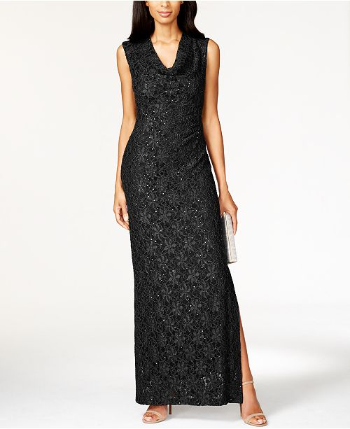 Connected Petite Cowl-Neck Slit Gown