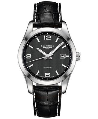Longines Men's Automatic Conquest Classic Black Leather