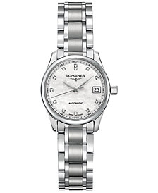 Longines Women's Automatic The Longines Master Collection Diamond Accent Stainless Steel Bracelet Watch 26mm L21284876