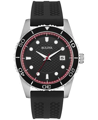 Bulova Men's Black Silicone Strap Watch 43mm 98B260