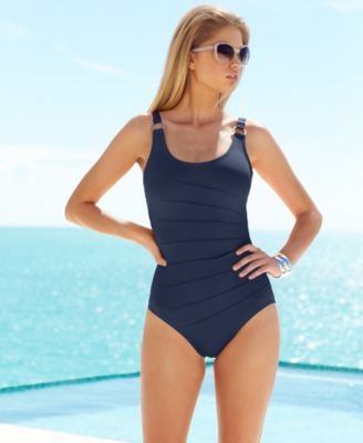Image of Calvin Klein Starburst One-Piece Swimsuit