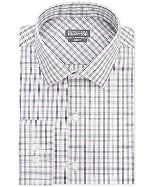 Kenneth Cole Reaction Slim-Fit Performance Brick Multi Check Dress Shirt