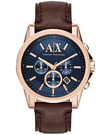 Men's Chronograph Dark Brown Leather Strap Watch 45mm AX2508