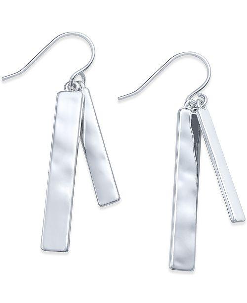 Lauren Ralph Lauren Silver-Tone Hammered Double Bar Drop Earrings
