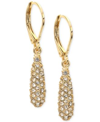 Image of Anne Klein Gold-Tone Pavé Drop Earrings