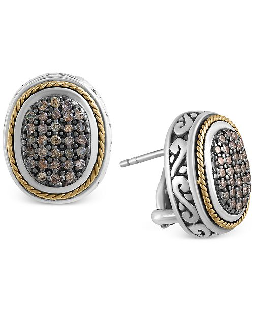 EFFY Collection EFFY Balissima Brown Diamond Oval Earrings (5/8 ct. t.w.) in Sterling Silver and 18k Gold