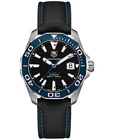 TAG Heuer Men's Swiss Automatic Aquaracer Calibre 5 Black Nylon Strap Watch 41mm WAY211B.FC6363