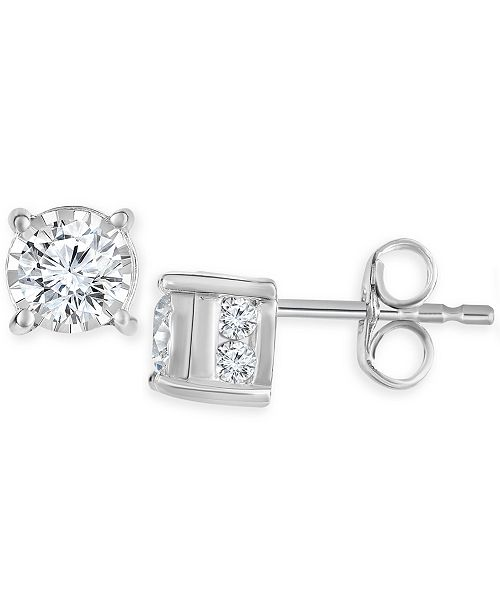 Trumiracle Diamond Stud Earrings 3 4 Ct T W In 14k White Gold Rose Or Jewelry Watches Macy S