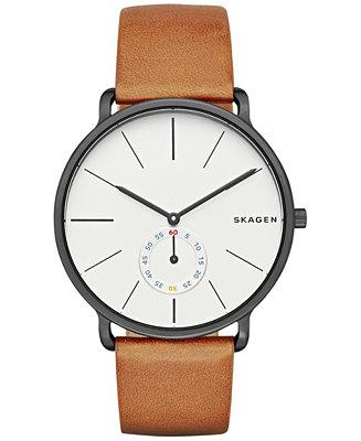 Skagen Men's Chronograph Hagen Brown Leather Strap