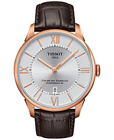 Tissot Men's Swiss Automatic Chemin Des Tourelles Brown Leather Strap Watch 42mm T0994073603800