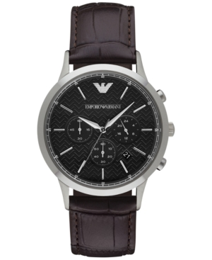 Emporio Armani Men's Chronograph Renato Dark Brown Leather Strap Watch 43mm AR2482