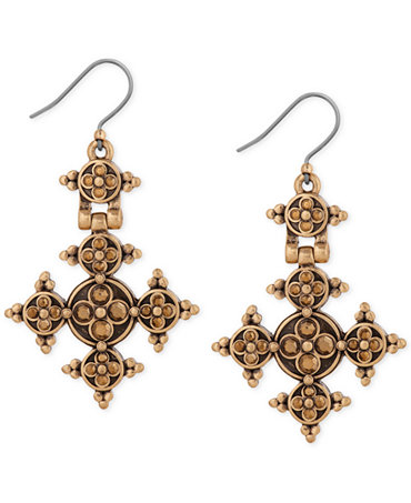 Lucky brand gold tone cross drop earrings jewelry for Macy s lucky brand jewelry