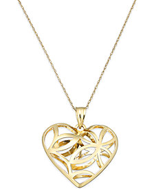 Openwork Heart Pendant Necklace in 10k Gold