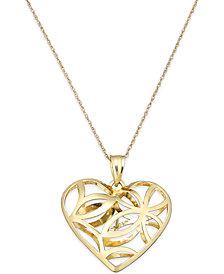 Openwork Heart Pendant Necklace in 10k Gold