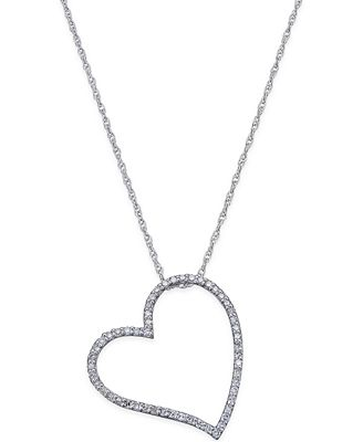 Diamond Floating Heart Pendant Necklace (1/4 ct. t.w.) in Sterling Silver