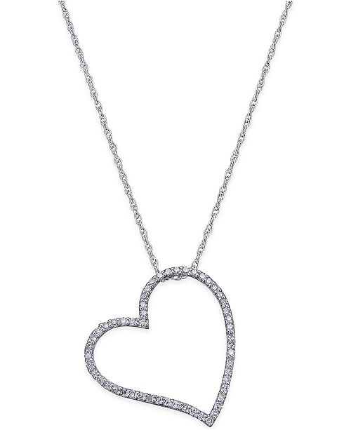 Macy's Diamond Floating Heart Pendant Necklace (1/4 ct. t.w.) in Sterling Silver