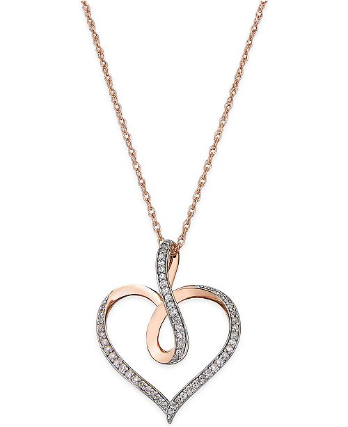 Macy's Diamond Infinity Heart Pendant Necklace (1/5 ct. t.w.) in 14k Rose Gold-Plated Sterling Silver
