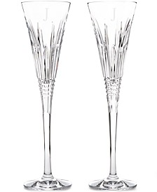 Lismore Diamond Block Letter Monogram Toasting Flutes, Set Of 2