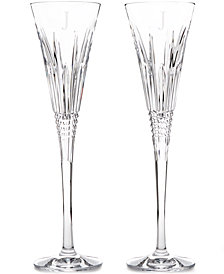 Waterford Lismore Diamond Block Letter Monogram Toasting Flutes, Set Of 2