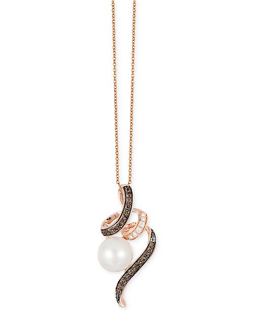 Le Vian Chocolatier® Freshwater Pearl (9mm) and Diamond (1/4 ct. t.w.) Pendant Necklace in 14k Rose Gold
