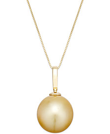 Cultured Golden South Sea Pearl Pendant Necklace (12mm) in 14k Gold