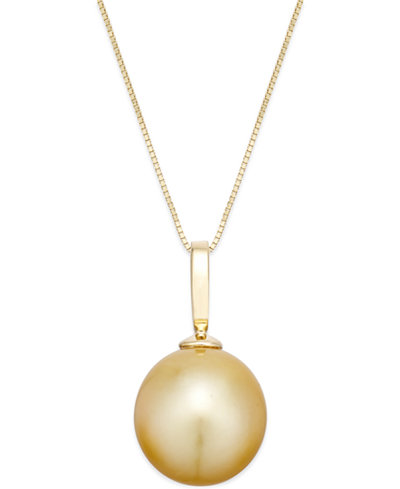 Cultured golden south sea pearl pendant necklace 12mm in 14k gold cultured golden south sea pearl pendant necklace 12mm in 14k gold aloadofball Choice Image