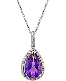 Amethyst and White Topaz Halo Pendant Necklace (4-1/4 ct. t.w.) in Sterling Silver