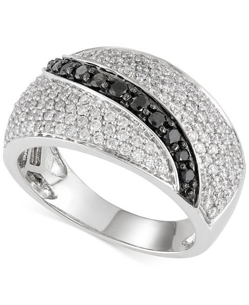 Diamond Black and White Ring (1 ct. t.w.) in 14K White Gold