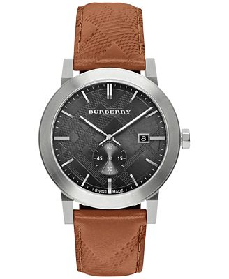 burberry s swiss chronograph the city brown leather