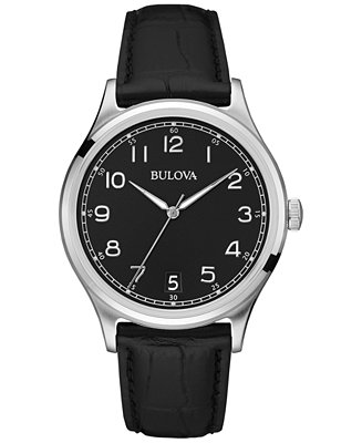 Bulova Men's Black Leather Strap Watch 40mm