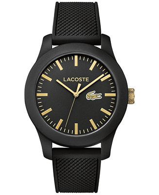 Lacoste Unisex 12.12 Black Silicone Strap Watch