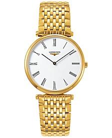Men's Swiss La Grande Classique de Longines Gold PVD Bracelet Watch 36mm L47552118