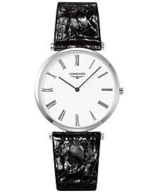 Men's Swiss La Grande Classique De Longines Black Leather Strap Watch 36mm L47554112