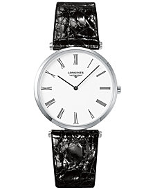 Longines Men's Swiss La Grande Classique De Longines Black Leather Strap Watch 36mm L47554112