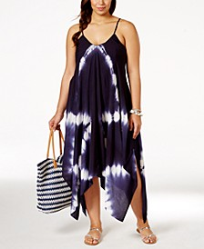 Plus Size Tie-Dye Handkerchief-Hem Cover-Up Dress