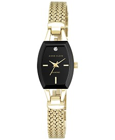 Anne Klein Women's Black Gold-Tone Mesh Bracelet Watch 19mm AK-2184BKGB
